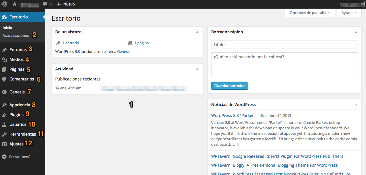 dashboard de WordPress